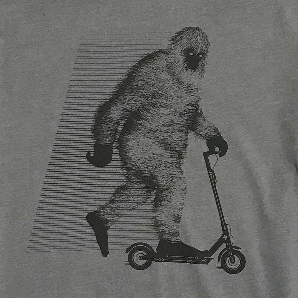 Bigfoot on a Scooter T-shirt (Warm Grey) - STORY SPARK