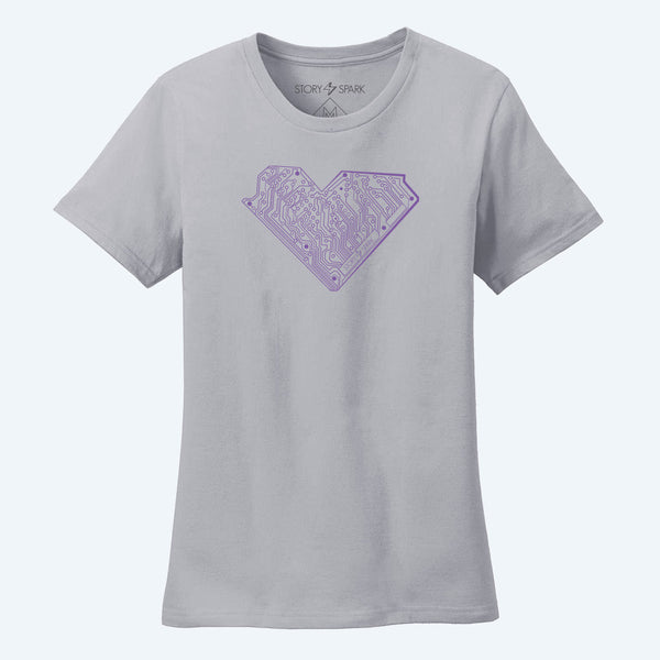 Graphic T-Shirts - I Heart Tech (Silver) - Womens - Story Spark - 1