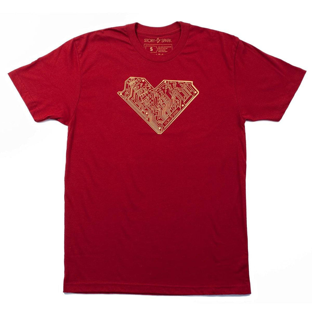 Graphic T-Shirts - I Heart Tech T-Shirt (Crimson)