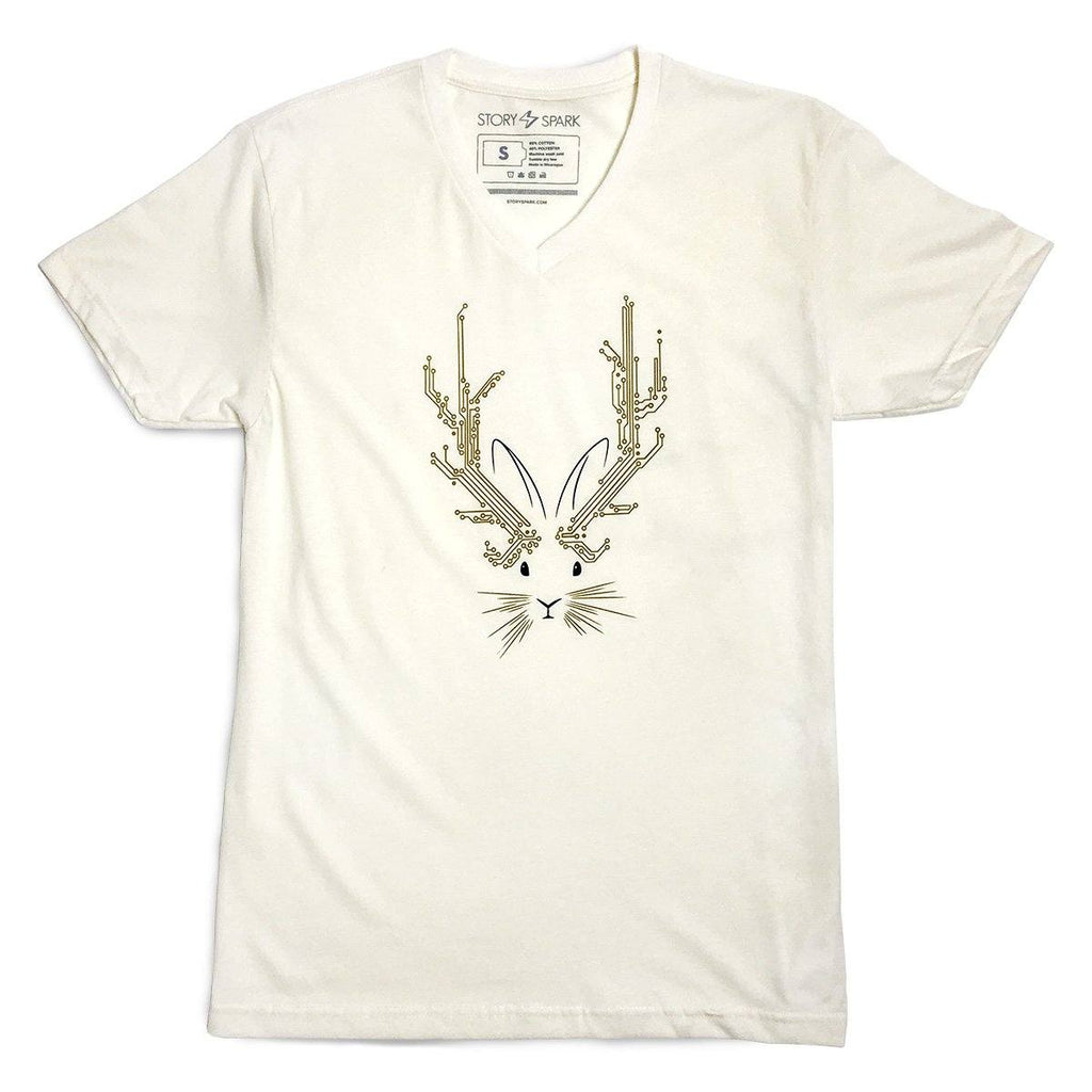 Graphic T-Shirts - Jackalope V-neck T-shirt (Natural)