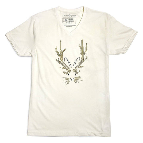 Jackalope V-neck T-shirt (Natural)