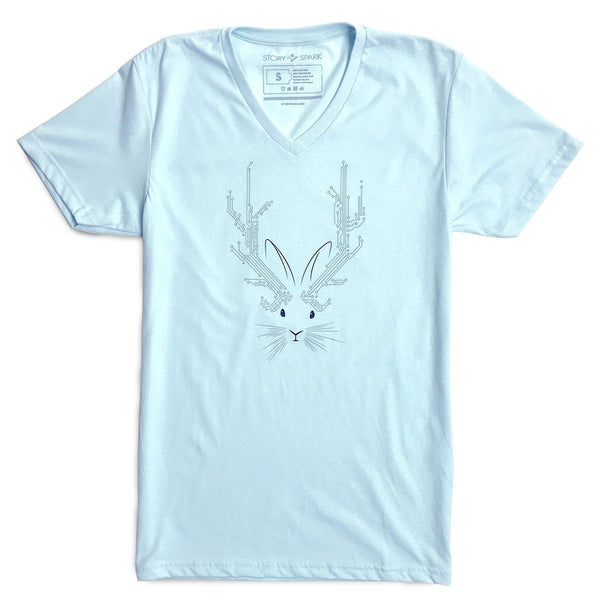Graphic T-Shirts - Jackalope V-neck T-shirt (Sky Blue)