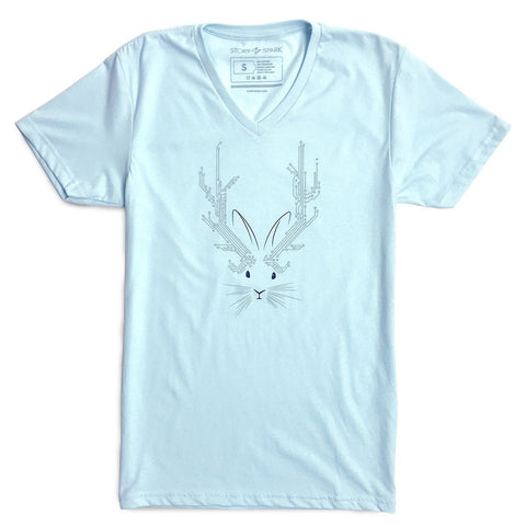 Jackalope V-neck T-shirt (Sky Blue)
