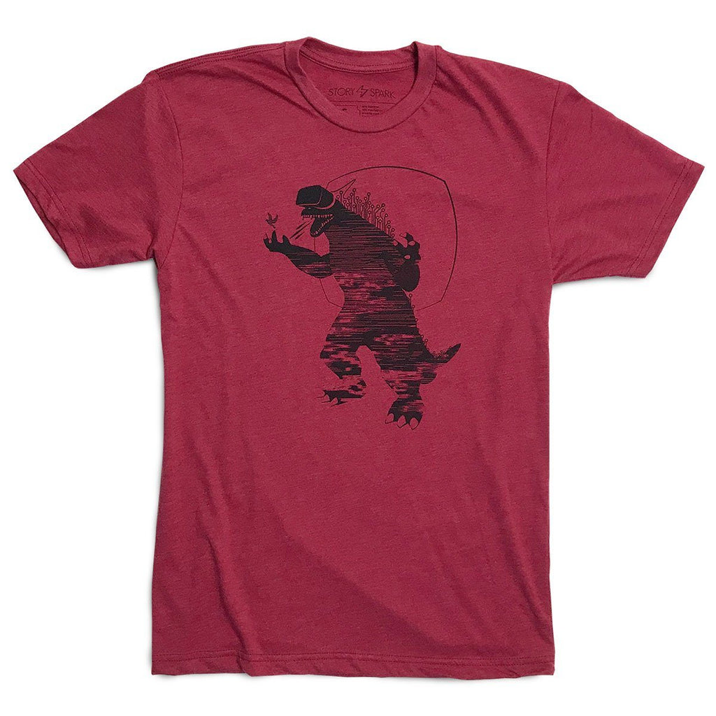 Virtual Reality Monster graphic tee in red - geeky gamer shirt and unique gift idea
