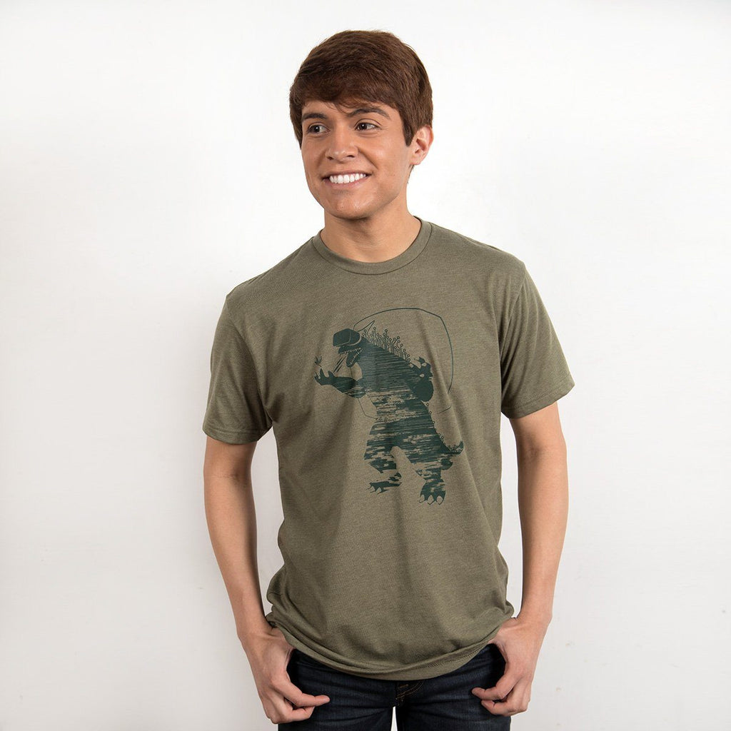 VR Dinosaur Graphic T-shirt in olive green - geeky gifts for gamers, engineers and techies