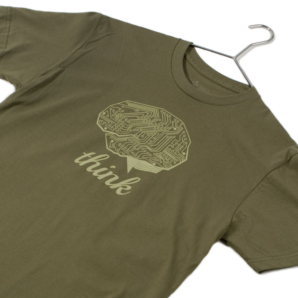 Think Tech T-Shirt (Olive) Cotton - STORY SPARK