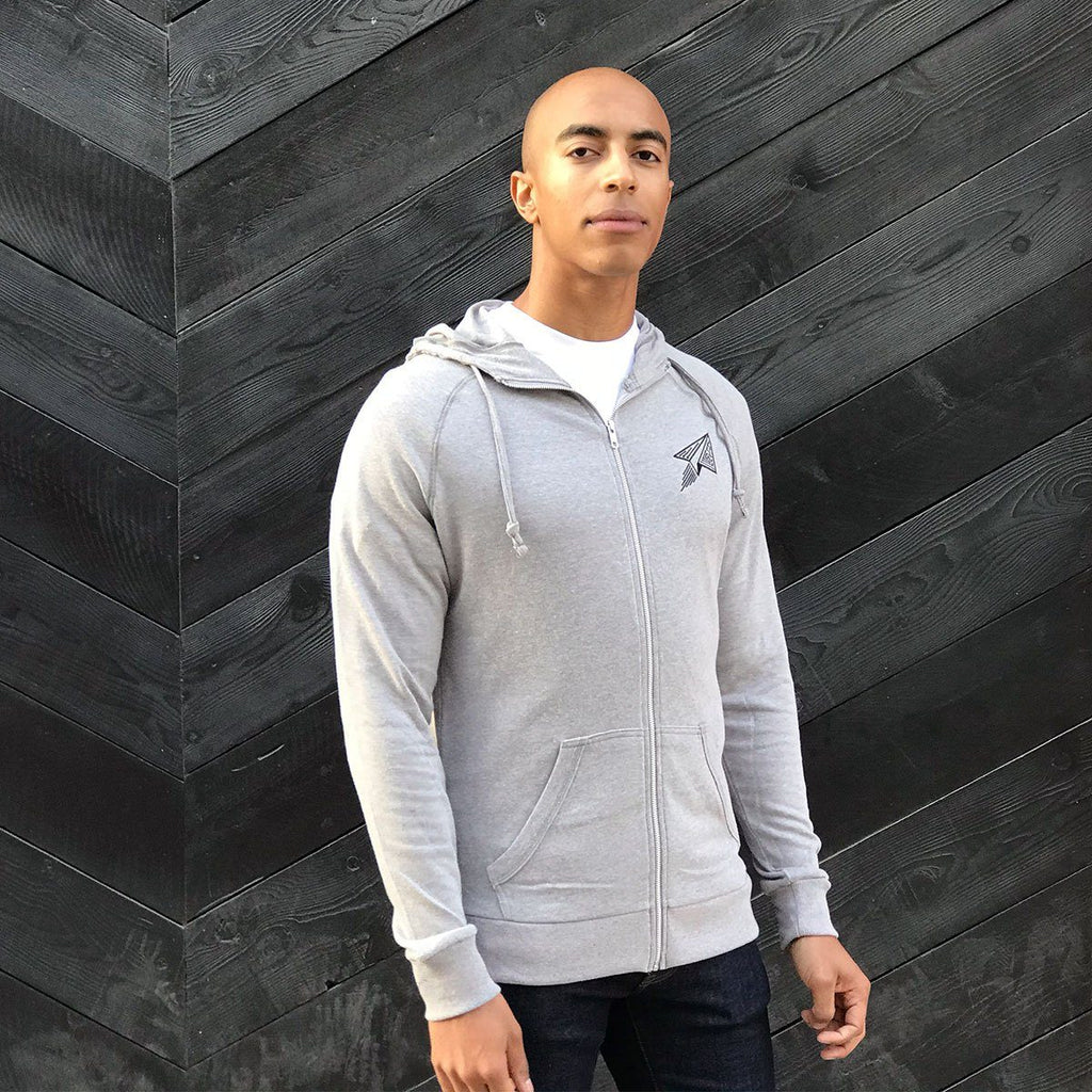 Paper Airplane Tech Hoodie (Light Grey) - STORY SPARK