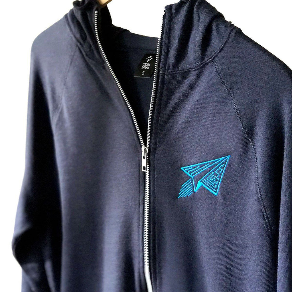 Tech Hoodie (Navy Blue) Circuit Board Airplane - STORY SPARK