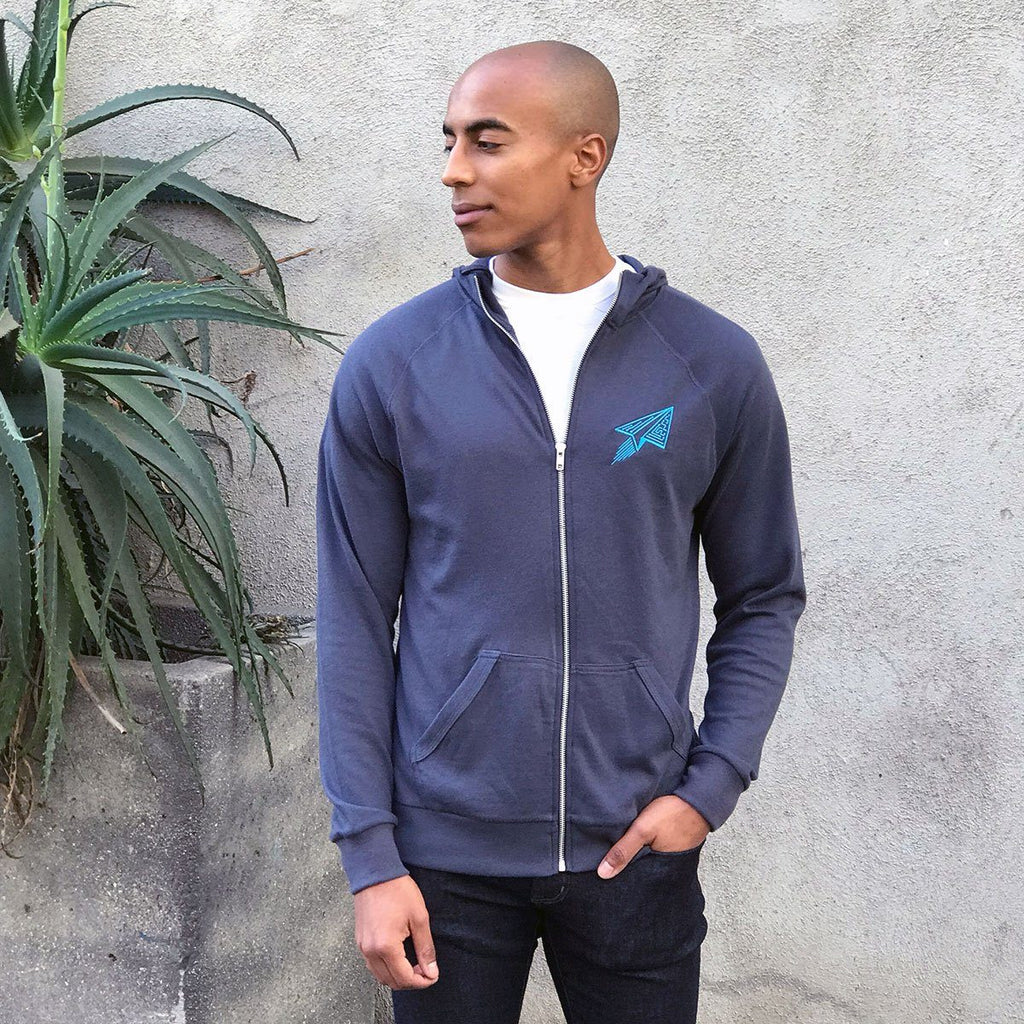 Techy Zippered Hoodie (Navy Blue) - STORY SPARK