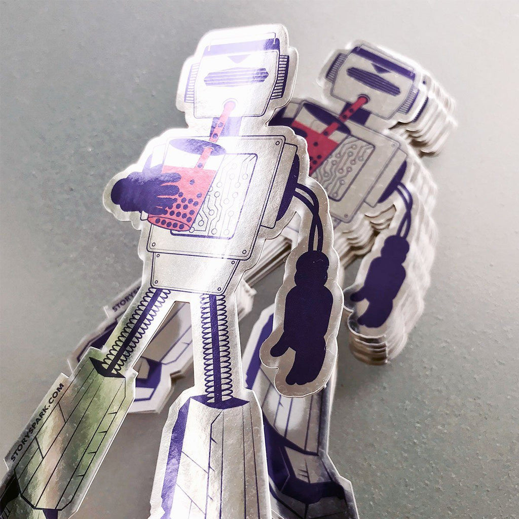 Boba Bot Mirrored Sticker - STORY SPARK