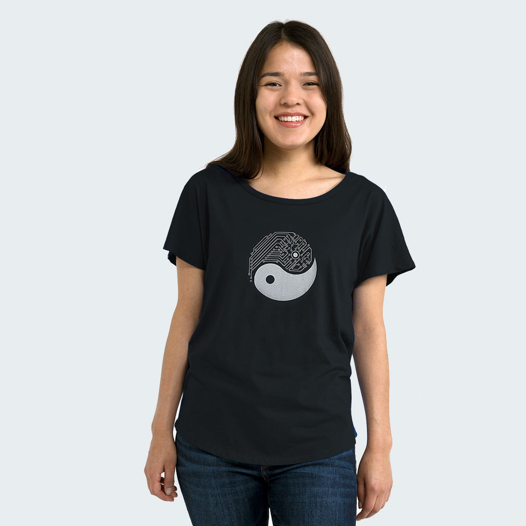 Techy Yin Yang Womens T-shirt in Black by STORY SPARK