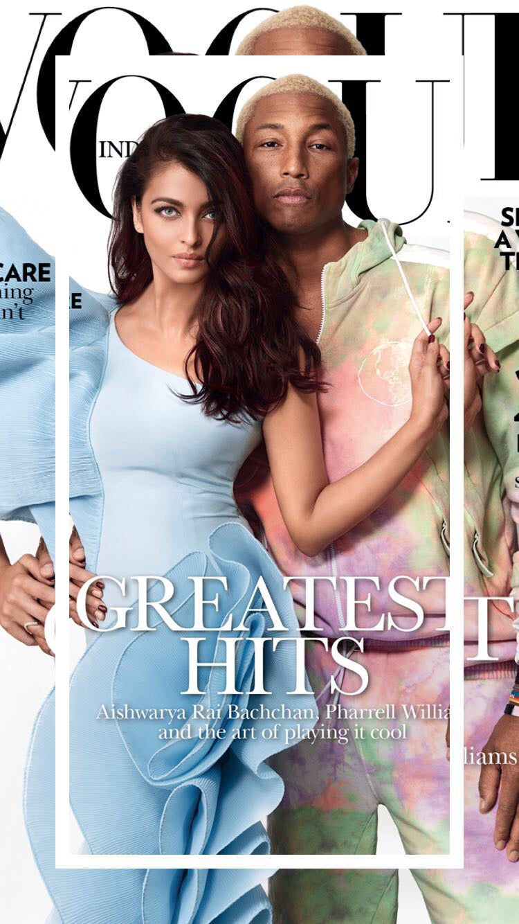 Vogue Cover by Aishwarya Rai Bachan and Pharrell Williams.