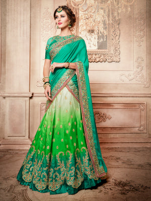 Green Designer Party Wear Lehenga Set - Desi Royale