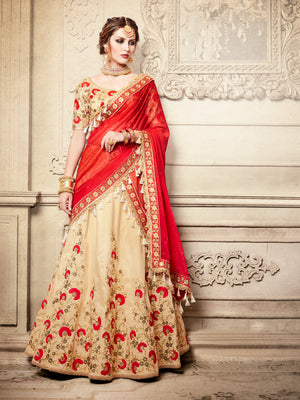 Beige And Red Designer Party Wear Lehenga Set - Desi Royale