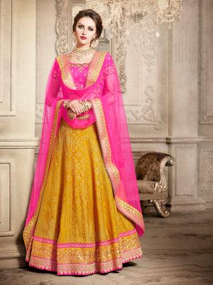 Pink And Yellow Designer Party Wear Lehenga Set - Desi Royale
