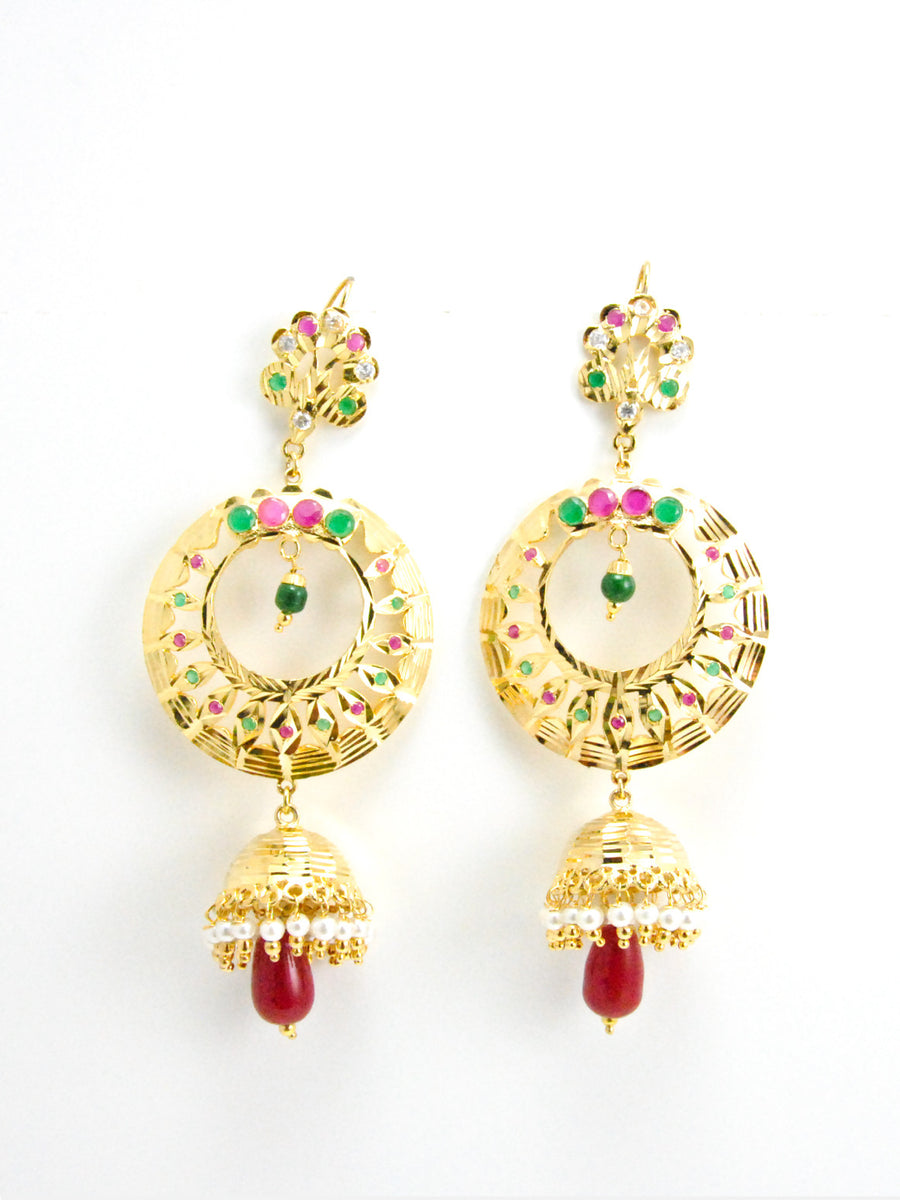 Chakra earrings with Ruby bead drops - Desi Royale