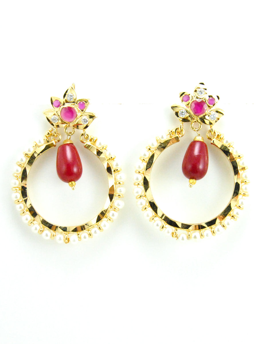 Leaf Chakra earrings with Ruby bead drops - Desi Royale