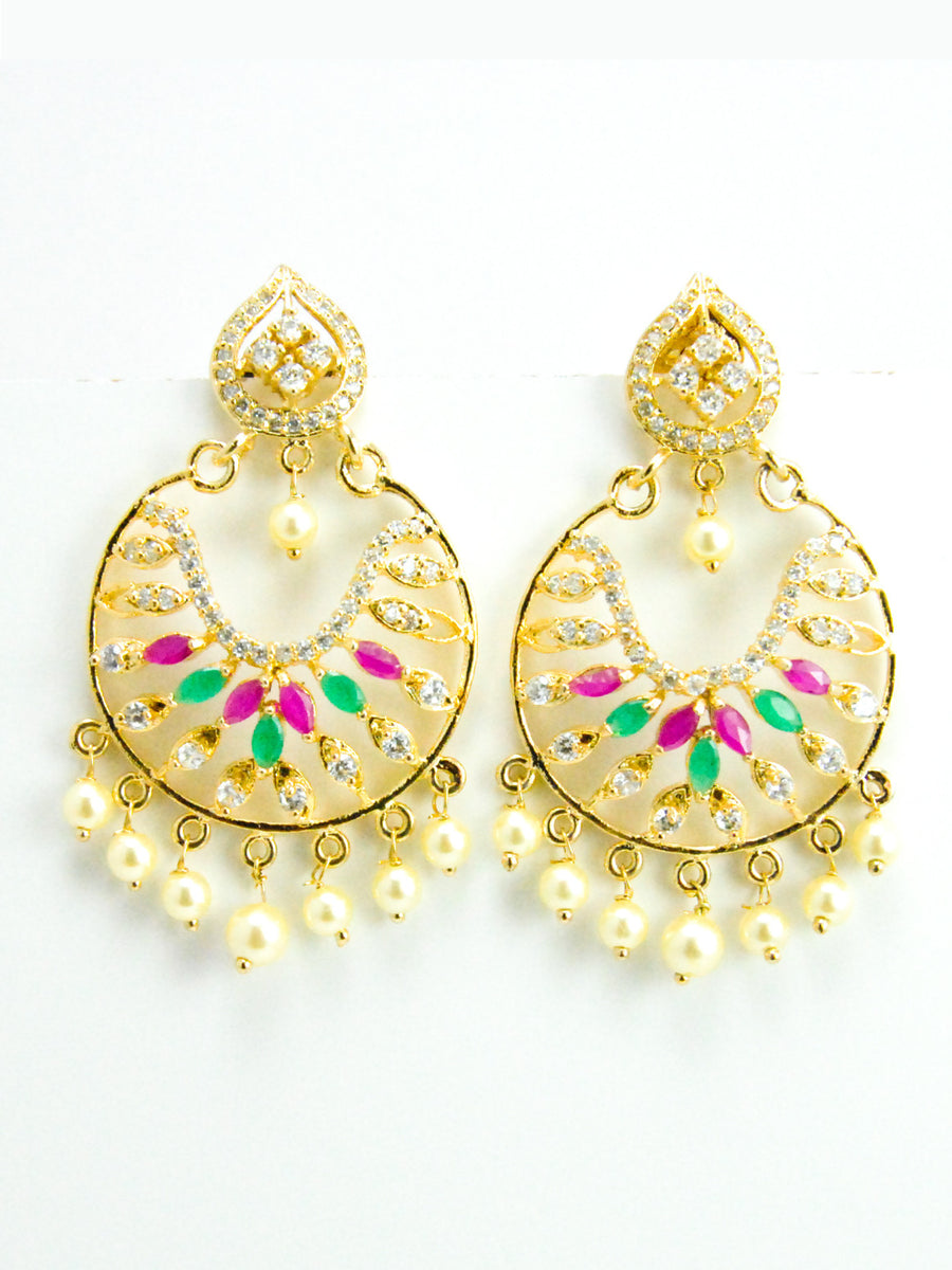 Umbi Earrings with Faux Diamonds, pearls and stones - Desi Royale