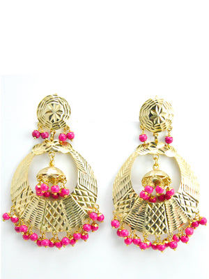 Banjara earrings with Pink beads - Desi Royale