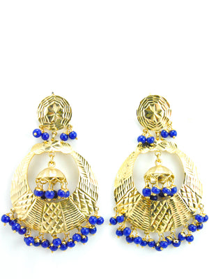 Banjara earrings with Blue beads - Desi Royale