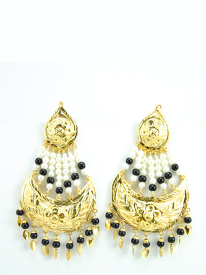 Umrao Jaan earrings with White and Black beads - Desi Royale