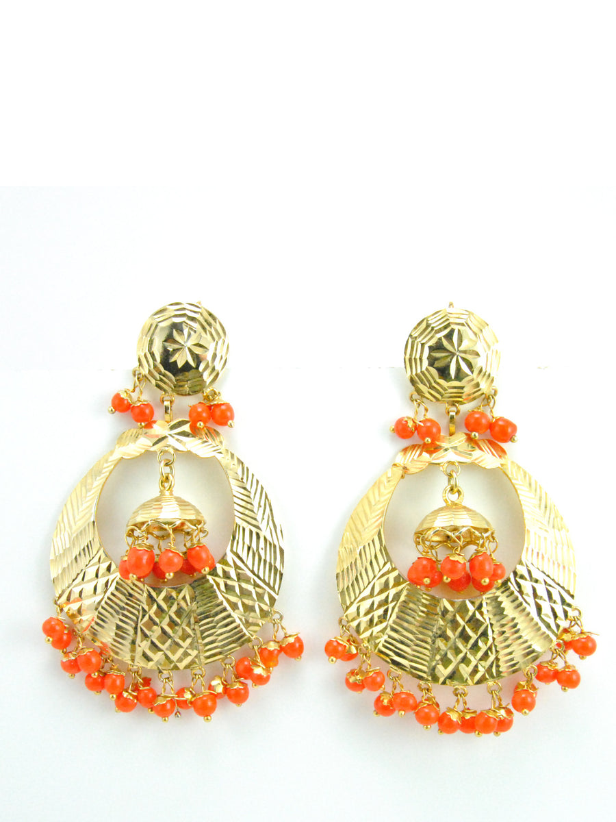 Banjara earrings with Orange beads - Desi Royale