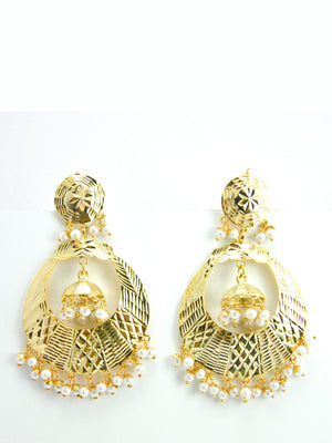 Banjara earrings with White beads - Desi Royale