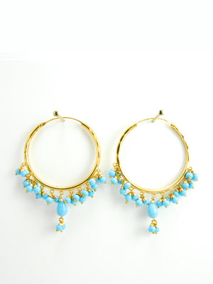 Firoza hoop earrings with Turquoise beads - Desi Royale