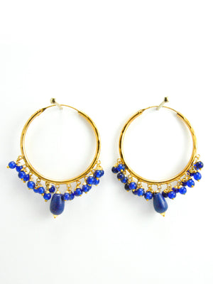 Firoza hoop earrings with Blue beads - Desi Royale