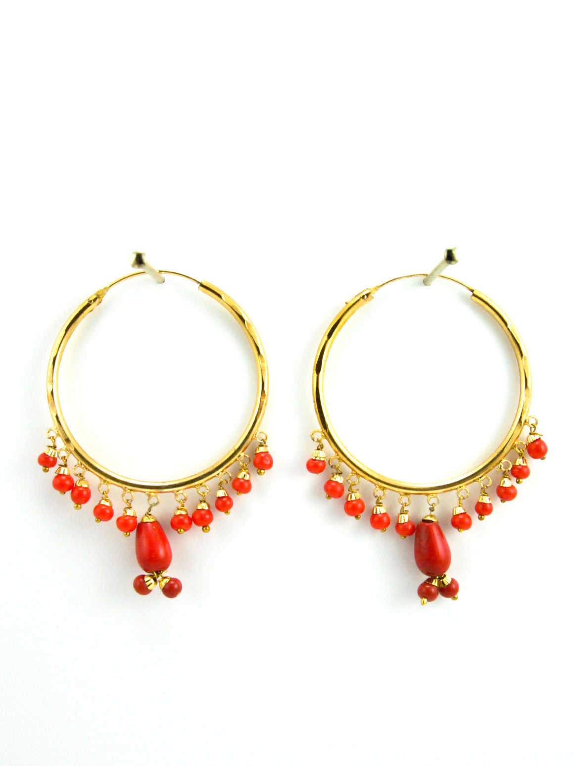 Firoza Hoop Earrings With Red Beads  Desi Royale