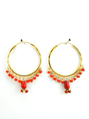 Firoza hoop earrings with Red beads - Desi Royale