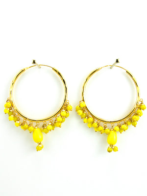 Firoza hoop earrings with Yellow beads - Desi Royale