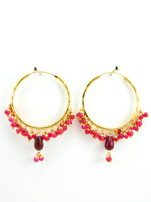 Firoza hoop earrings with Ruby beads - Desi Royale