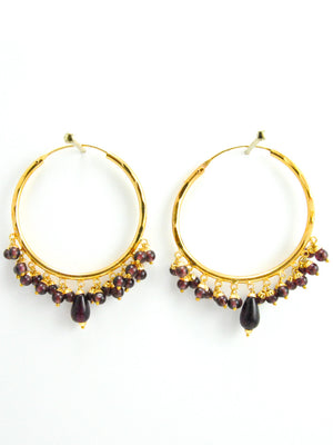 Firoza hoop earrings with Brown beads - Desi Royale