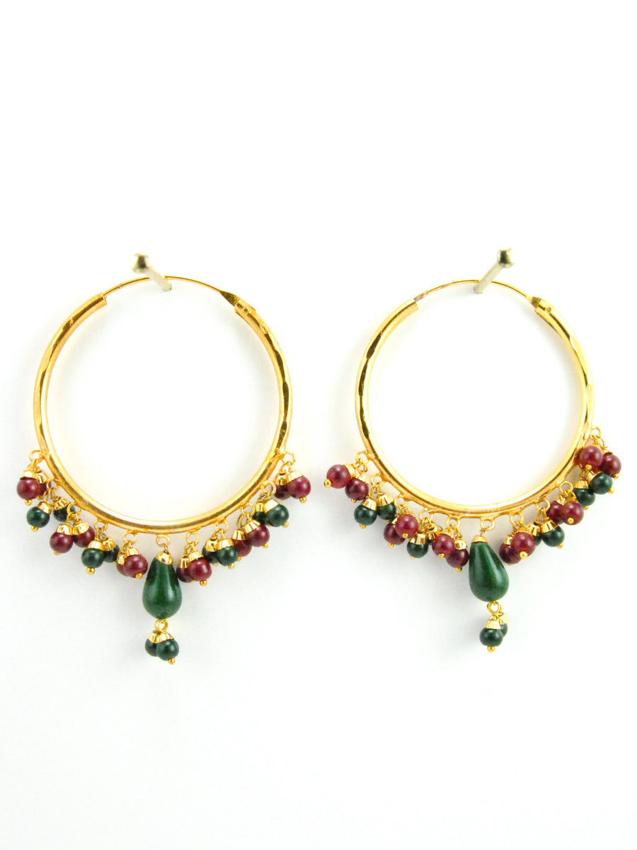 Firoza hoop earrings with Maroon and Green beads - Desi Royale