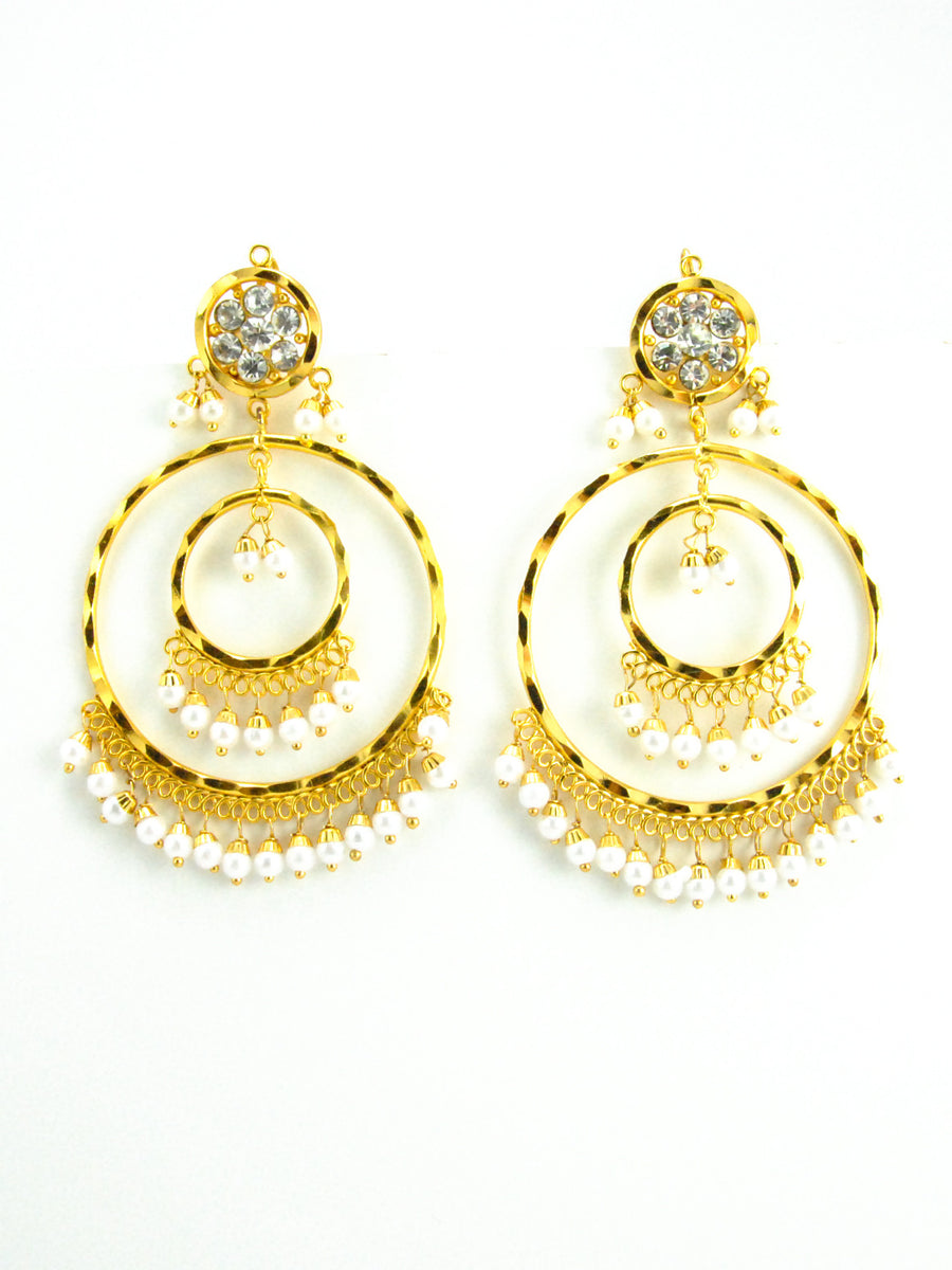 Double Ringed earrings with Pearls - Desi Royale