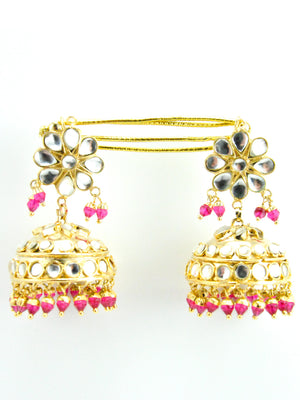Raj Gharana Kundan Jhumka earrings - Desi Royale