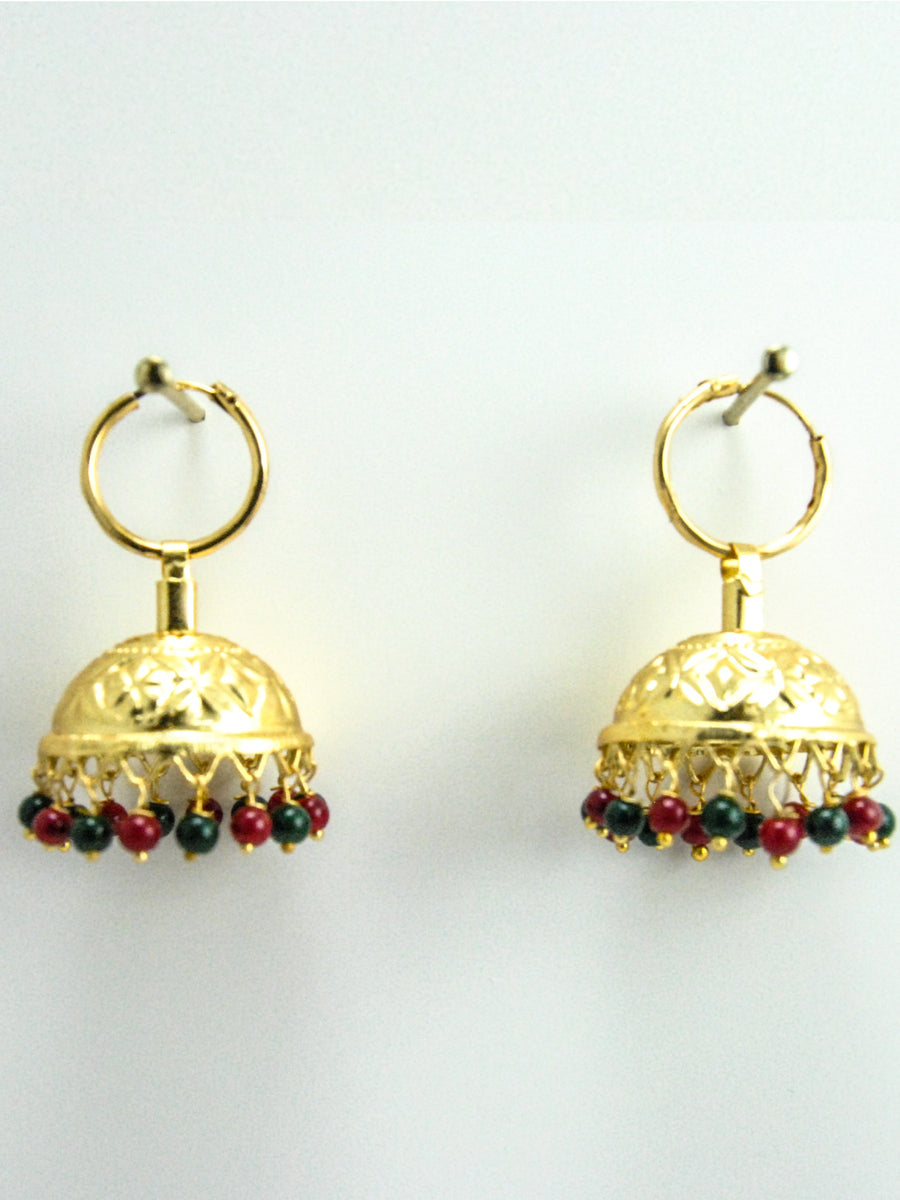 Ethnic Jhumka earrings with Multicolored beads - Desi Royale