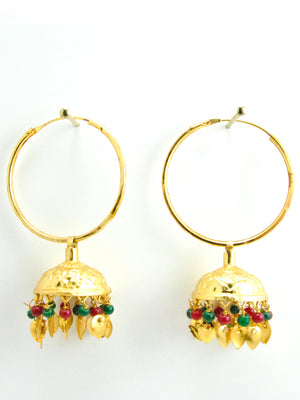 Desi Jhumka earrings with Multicolored beads and Gold Leaves - Desi Royale