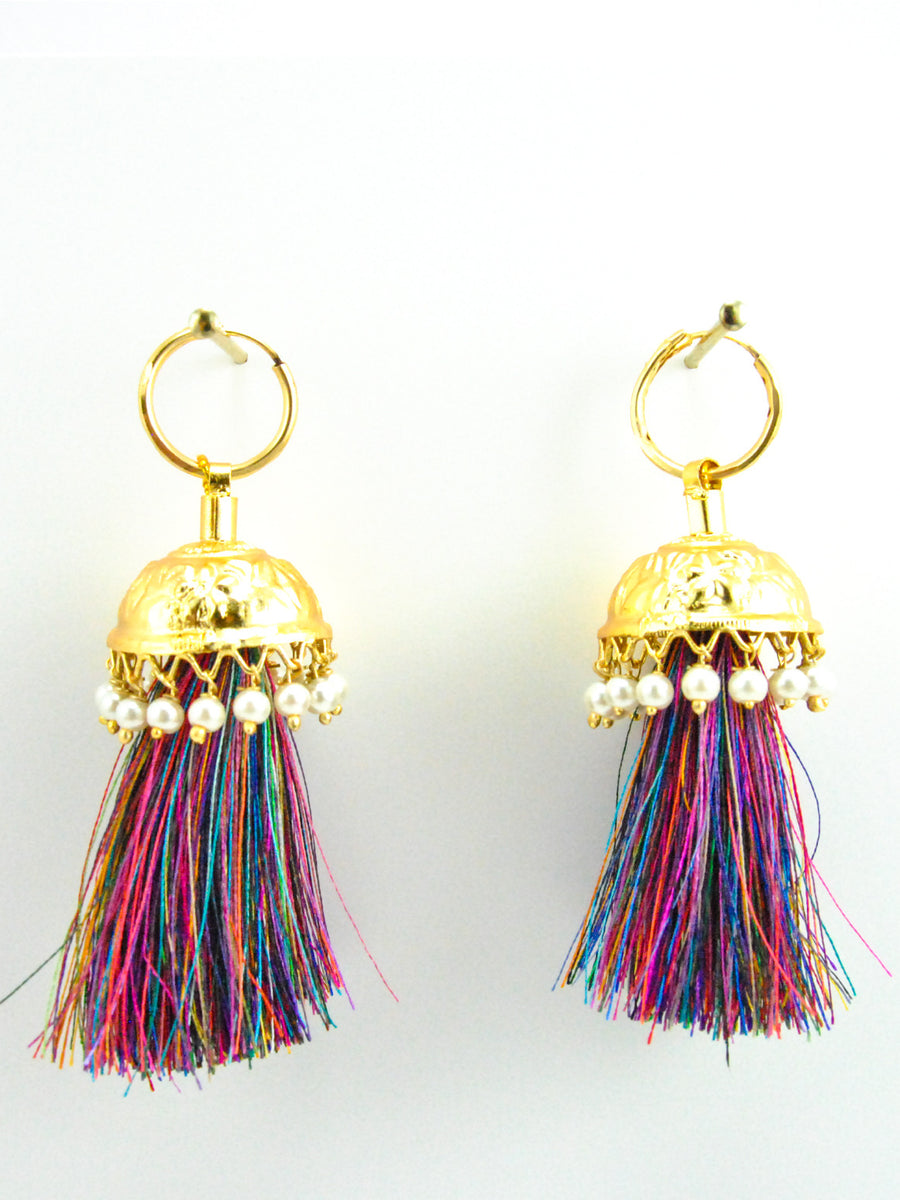 Flamingo Jhumka earrings with White pearls & Multicolored threads - Desi Royale