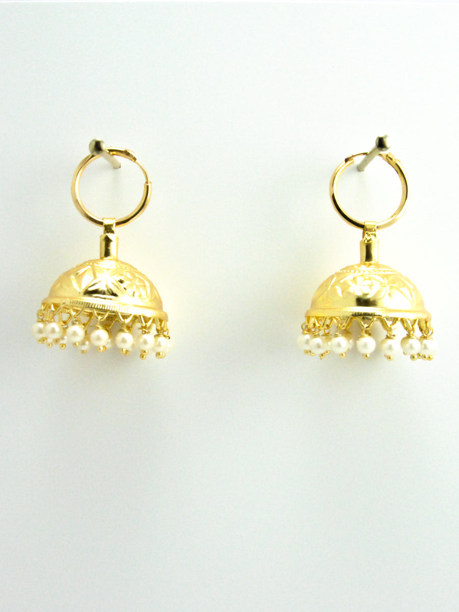 Desi Jhumka earrings with Faux pearls - Desi Royale