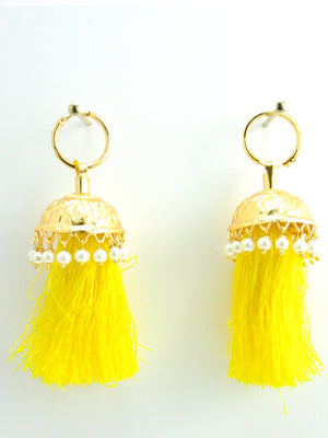 Flamingo Jhumka earrings with Yellow threads - Desi Royale