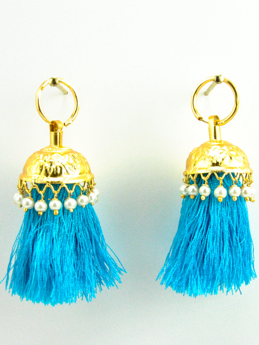 Flamingo Jhumka earrings with Turqoise threads - Desi Royale