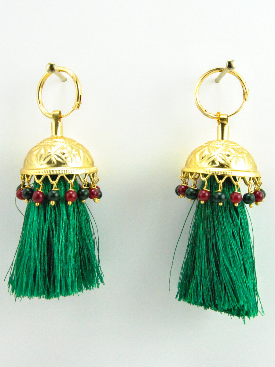 Flamingo Jhumka earrings with Green threads - Desi Royale