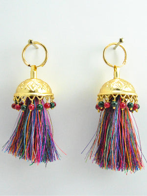 Flamingo Jhumka earrings with Multicolored beads & threads - Desi Royale