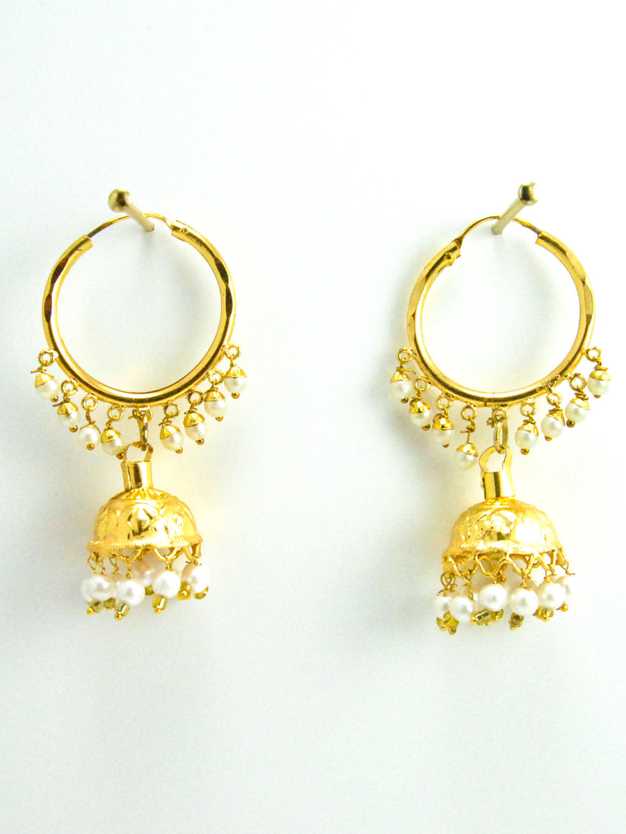 Punjaban Jhumka earrings with Faux pearls - Desi Royale