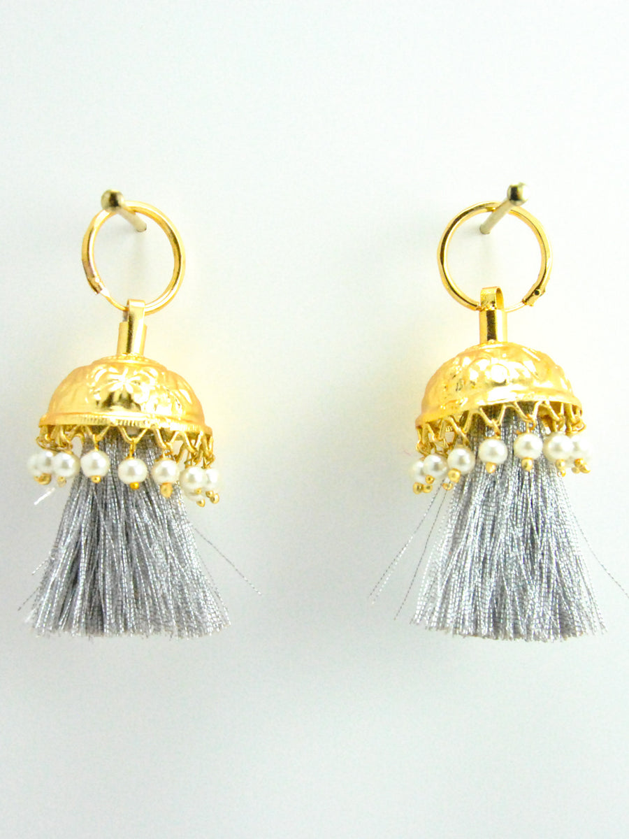 Flamingo Jhumka earrings with Faux Pearls and Silver threads - Desi Royale