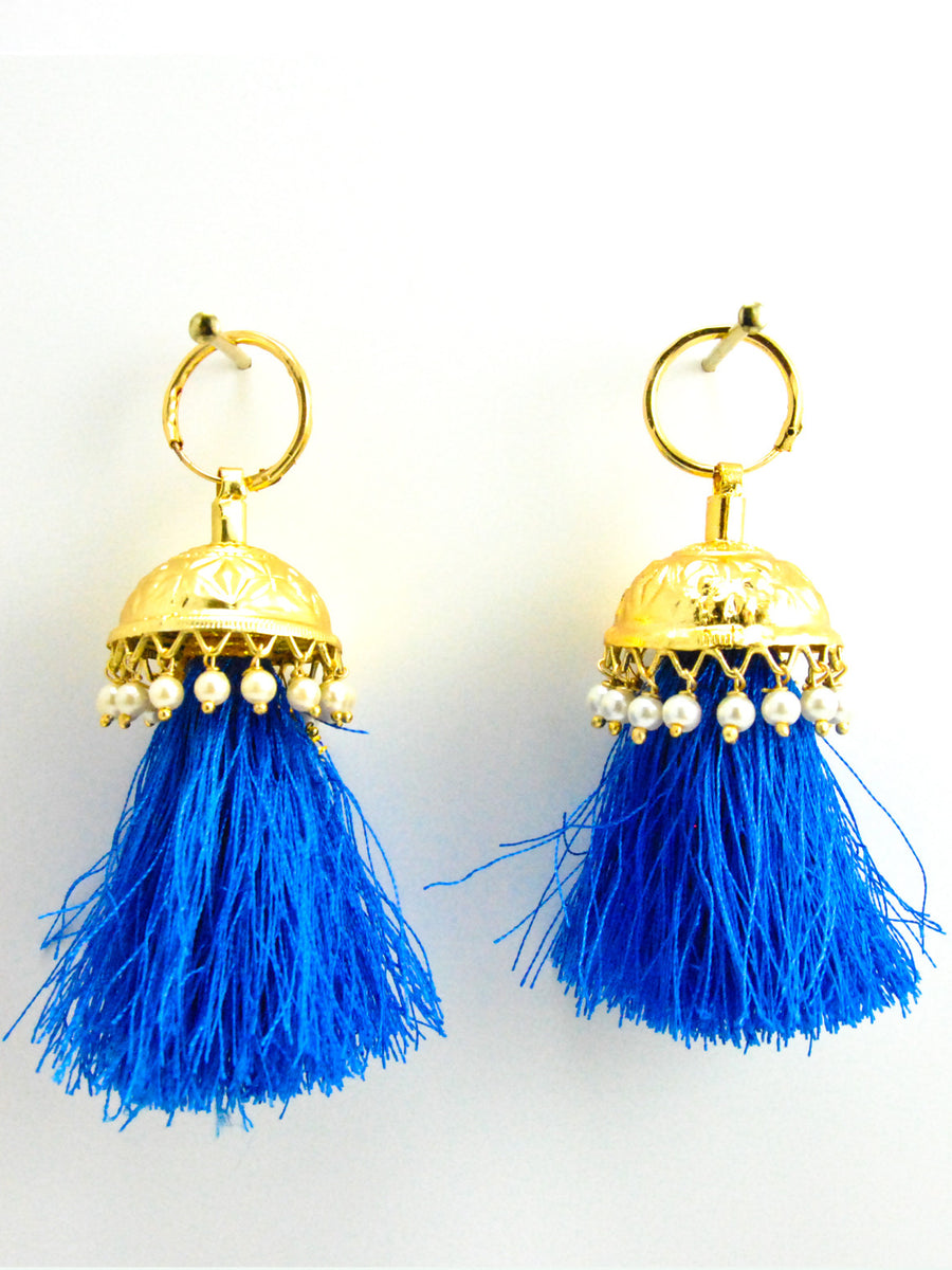 Flamingo Jhumka earrings with Faux Pearls and Blue threads - Desi Royale