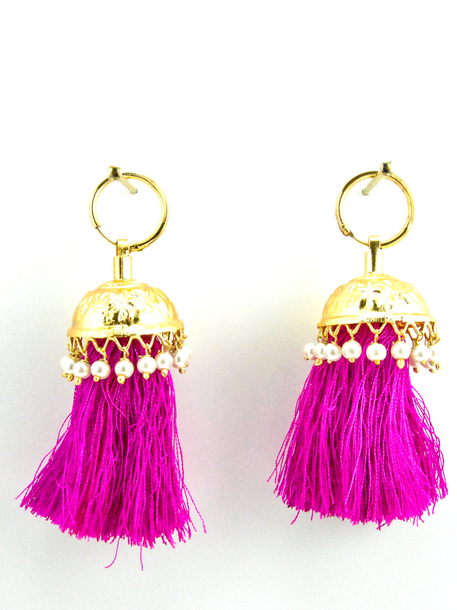 Flamingo Jhumka earrings with Faux Pearls and Hot Pink threads - Desi Royale