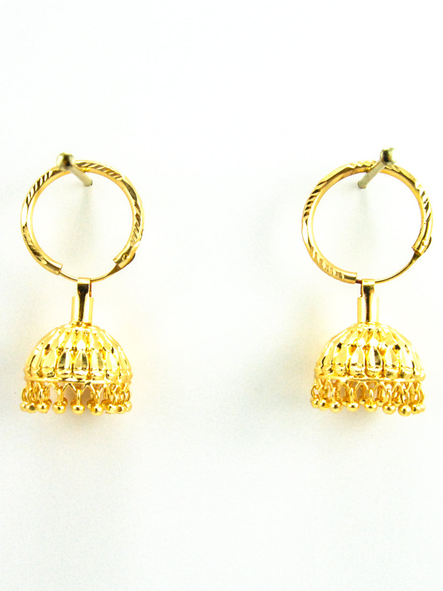 Golden Jhumka earrings - Desi Royale
